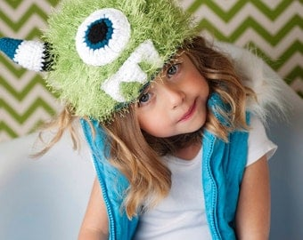 Fuzzy Monster Hat - Instant Download Crochet Pattern
