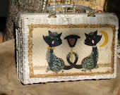 Vintage Cats Purse 1950 Princess Charming Designer Mother of Pearl Woven