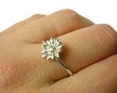 Silver sunflower ring Sterling silver flower ring silver stacking ring 925 Sterling silver ring nature sunflower jewelry