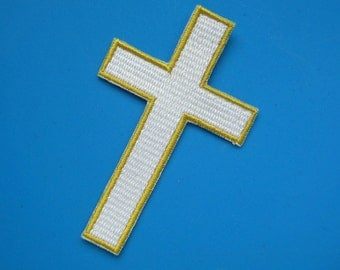 Iron-on Embroidered Patch Cross 3.75 inch (4 pcs for USD6.99)