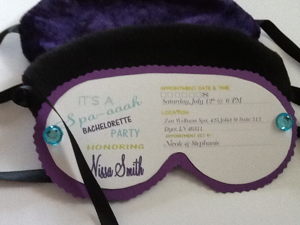 Spa mask sleep mask eye mask bachelorette party by tochess for Spa mask invitation template