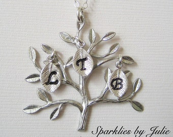 SILVER Family Tree Necklace - Rhodium Plated Tree Pendant, Hand Stamped Initial Leaf Charms, Up to 5 Initials, Mother or Grandmother Jewelry