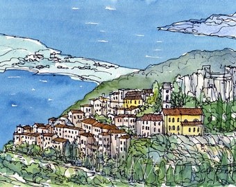 Cap Ferrat France art print from an original watercolor painting