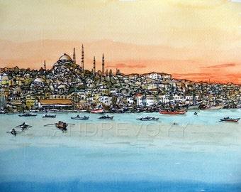 Istanbul Bosphorus Turkey art print from an original watercolor painting