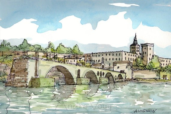 Avignon France art print from an original watercolor painting