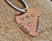 Anniversary Date Guitar Pick - Hand Stamped Copper or Aluminum Guitar Pick Key Chain with Names & Date