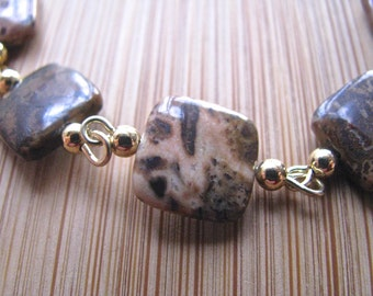 Fall Colors Brown Spotted Agate and Gold Segmented Necklace