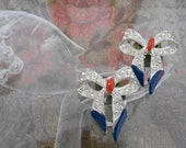RESERVED for ALIX 1930's Rhinestone Bow Dress Clips
