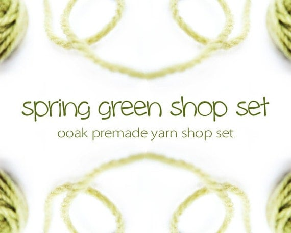 spring green yarn banner set, OOAK, shop graphics, premade, Etsy shop set, lime, chartreuse, fibre, crochet, knitting, minimal