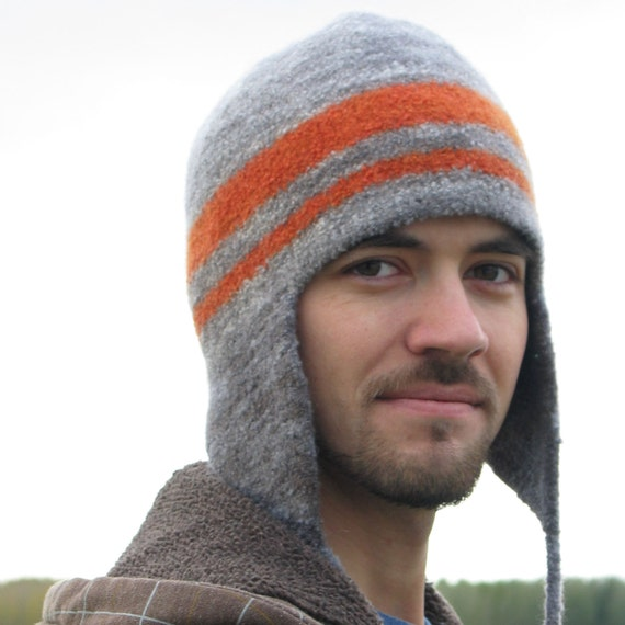 MADE TO ORDER felted ear flap hat for man