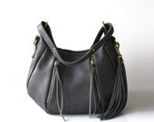 Womens Gray Leather Bag - OPELLE Baby Ballet Bag - Pebbled Leather Purse w Zipper Pockets in Smoke
