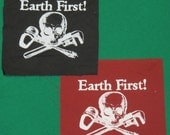 Earth First Jolly Roger Patch, Red or Black - Skull Crossbones, Monkeywrench, Hammer, Skeleton, Environment Direct Action Protest, pirate