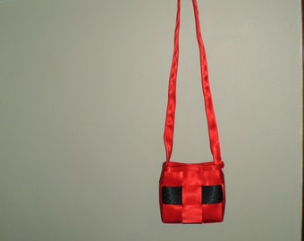 Small Red/Black Sealtbelt Shoulder Bag