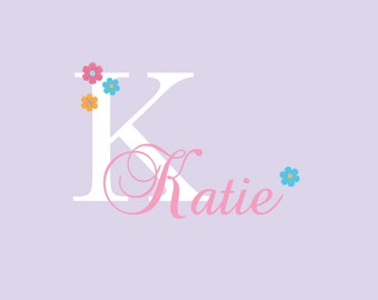 Personalized Polka Dot Monogram Vinyl Wall Decal with birds and butterflies