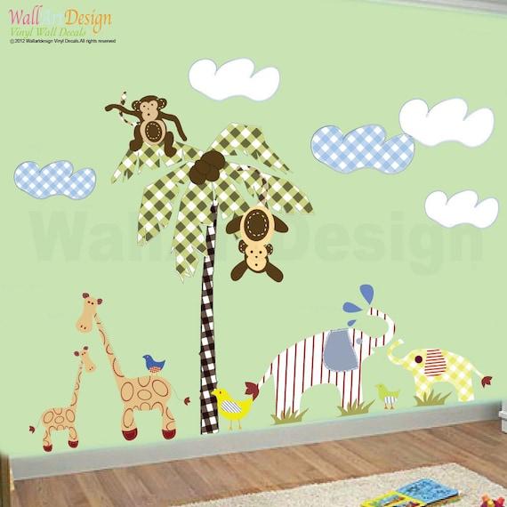 Vinyl Wall Decal Jungle Friends- Vinyl Wall Art Decals Stickers- Nursery Kids Boys