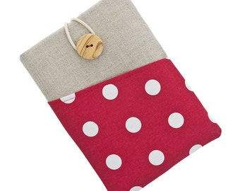 Kindle Paperwhite case, fabric Kindle Touch sleeve, Kindle Fire pouch, Kindle Fire case, Kobo Aura case, Kobo Glo cover, white dots / red