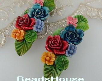 424-HP - 2pcs Beautiful Colorful Enlongated branch Flower Cabochon,Hand Paint Dark Colour
