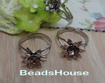20%off 6pcs Adjustable Silver Plated Rings With Flower ,Nickel Free