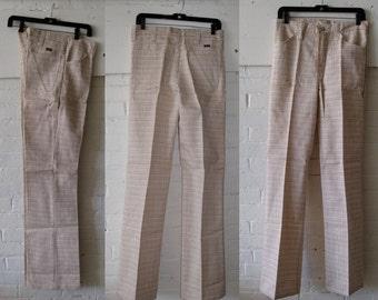 Vintage 1960's Wrangler Deadstock  Plaid Bell Bottom Flare Jeans Pants Slacks 30X34
