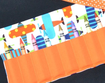 Crayon Roll airplane birthday party favors, Easter Gift - Crayon Storage keeper - Stocking Stuffer