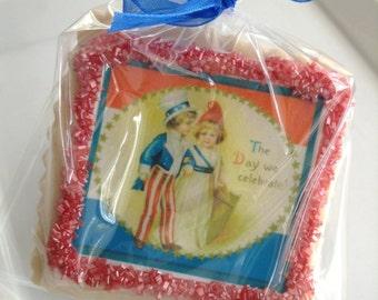 Patriotic shortbread cookie favor Memorial Day fourth of july