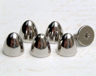 10 sets 8x8mm SILVER bullet screwback spikes Studs