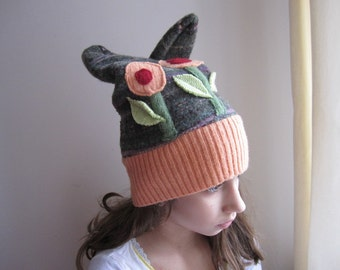 Orange Green Flowers Recycled Wool Felted Hat
