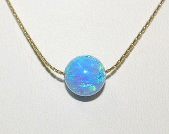 8mm Light Blue OPAL Gemstone BEAD with 14kt Gold Filled 0.6mm Fine Chain NECKLACE. Free Shipping Worldwide.