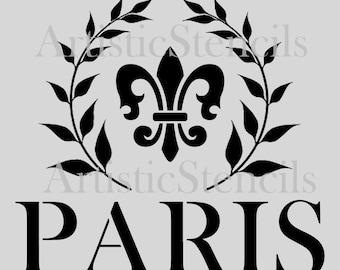 STENCIL French Paris Wreath Fleur de lis 10 Inch
