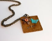 GROW-Stamped Metal Pendant-Butterfly Necklace- Mixed Metal Jewelry