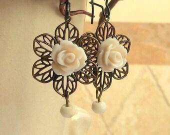 Creamy White Rose Filigree Earrings,Flower Earrings,Spring Flower Earrings