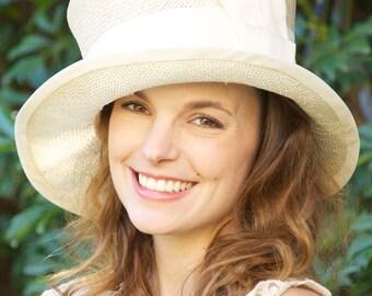 Church Hat, Ivory Straw Hat. Wedding Hat, Kentucky Derby Hat, Cloche, Formal Hat,