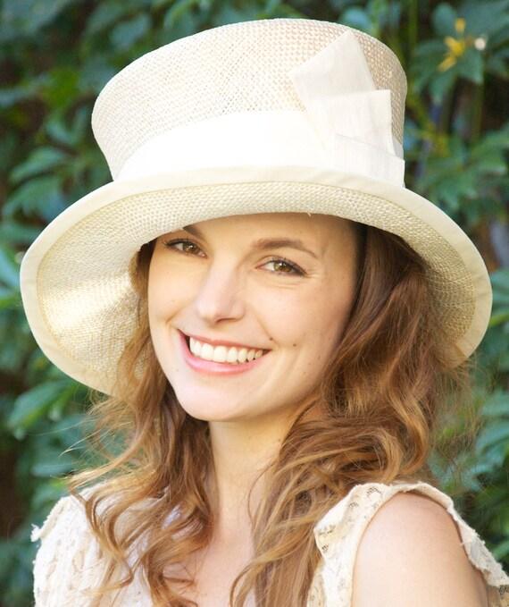 Hat SALE. Church Hat, Ivory Straw Hat. Wedding Hat, Kentucky Derby Hat, Cloche, Formal Church hat, Mother of Bride Hat, Event Occasion  Hat