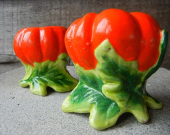 Vintage Pumpkin Salt and Pepper Shakers Made in Japan orange cold paint and perfect for thanksgiving