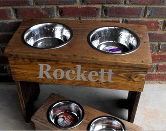 Personalized Rustic Large Raised Dog Stand -12'' Tall -  Two 3 Quart Bowls