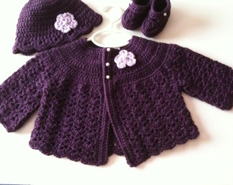 Crochet Baby Sweater Hat Booties Set Plum 0 to 3 months
