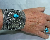 Reserve for Rachel // RARE Extra Wide and Large CUFF Navajo STERLING Bracelet