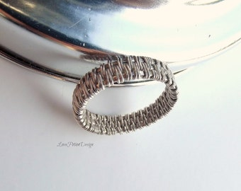 Wire Wrapped Sterling Silver Band Ring Size 8.75
