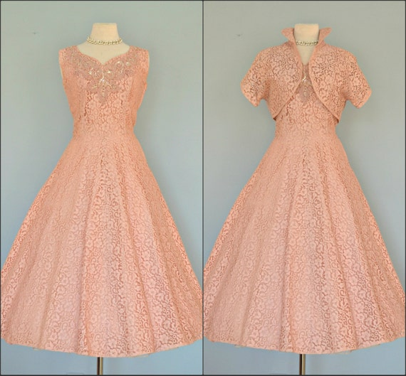 Vintage 1950 wedding dress gorgeous rose pink lace tea for Antique rose wedding dress