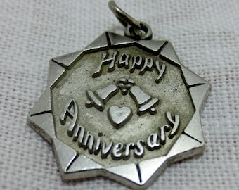 HAPPY ANNIVERSARY Sterling Silver Disc Charm or Pendant