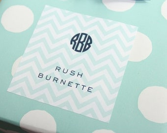 personalized children's gift stickers - chevron and monogram (boy, aqua and navy)