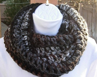 COWL SCARF Infinity Loop Black Brown Gray White Stripes, Soft Bulky 100% Acrylic Crochet Knit Winter Circle Wrap..Ready to Ship in 2 Days