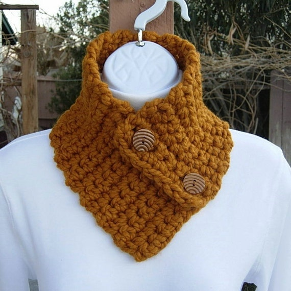 Knitting Pattern For Small Neck Scarf : NECK WARMER SCARF Small Buttoned Cowl..Butterscotch Dark
