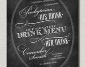 His and Hers Signature Drinks Chalkboard Style Wedding Poster or Bar and Cocktail Sign by Abigail Christine Design