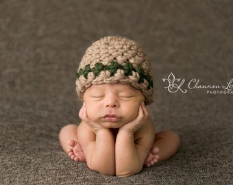 Striped Beanie Hat Tan Green Newborn Baby Photography Prop