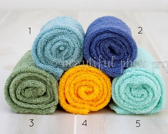 Stretch Knit Wraps in Blues Greens