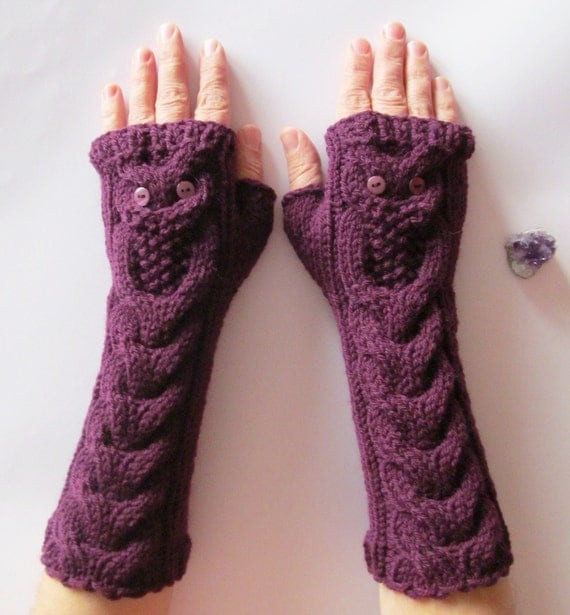 Owl Fingerless Gloves Knitting Pattern : Owl Purple Gloves Violet Long Hand Knitted Cable by NastiaDi