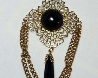 Faux Black Onyx Brooch with Brass chain Apparel & Accessories Jewelry Vintage Jewelry Brooch