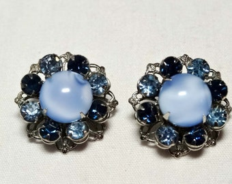 Blue Rhinestone Flowers with Acrylic Cat's Eye Clip-on earrings Apparel & Accessories Jewelry Vintage Jewelry Earrings Clip On Rhinestone