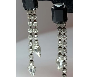 1950s Black and Clear Rhinestone clip on earrings Apparel & Accessories Jewelry Vintage Jewelry Earrings Clip On Earrings Rhinestone